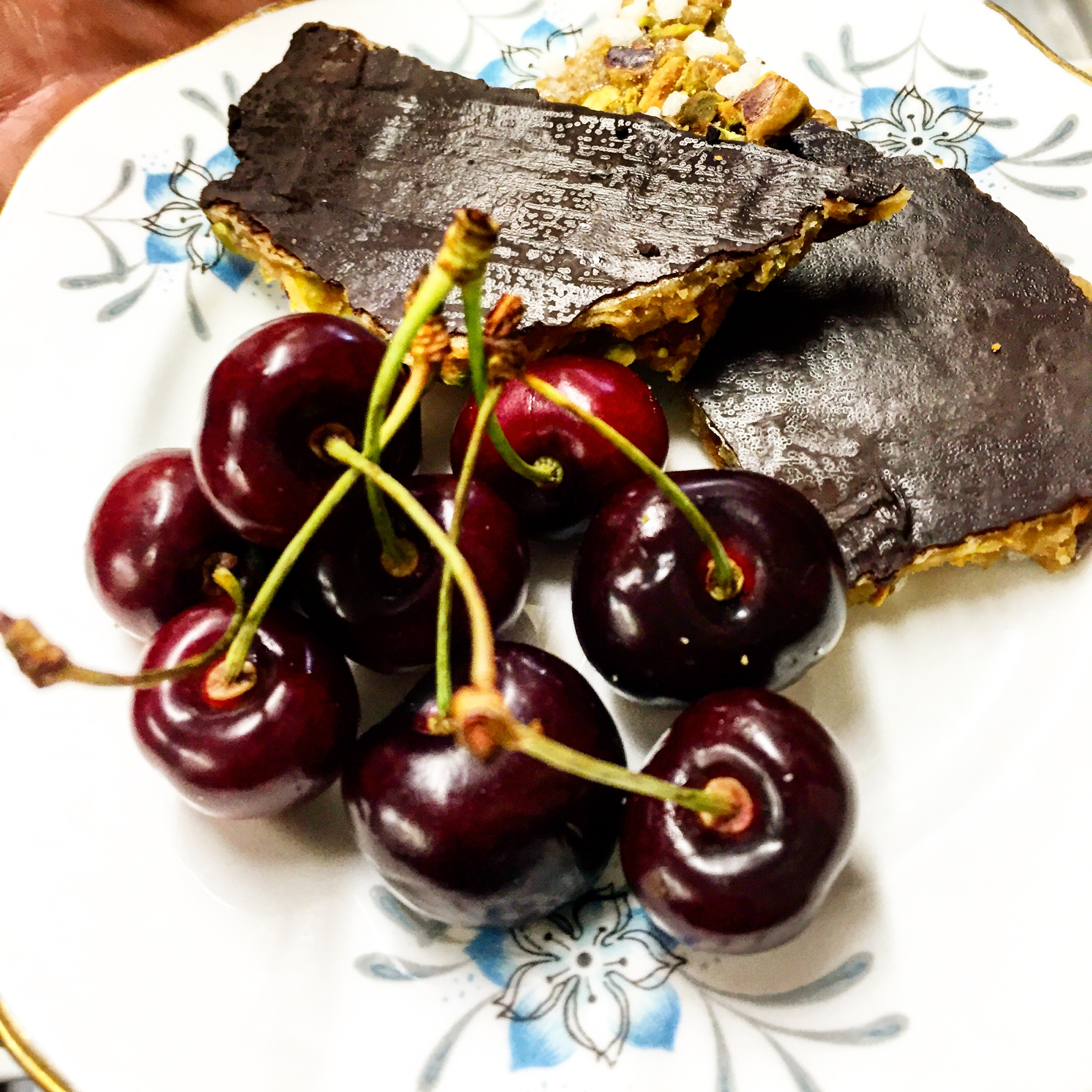 From the treat section of our menu, cherries + pistachio chocolate brittle.